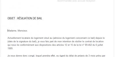 Lettre type gratuite pour résiliation de bail - IMMO LYON