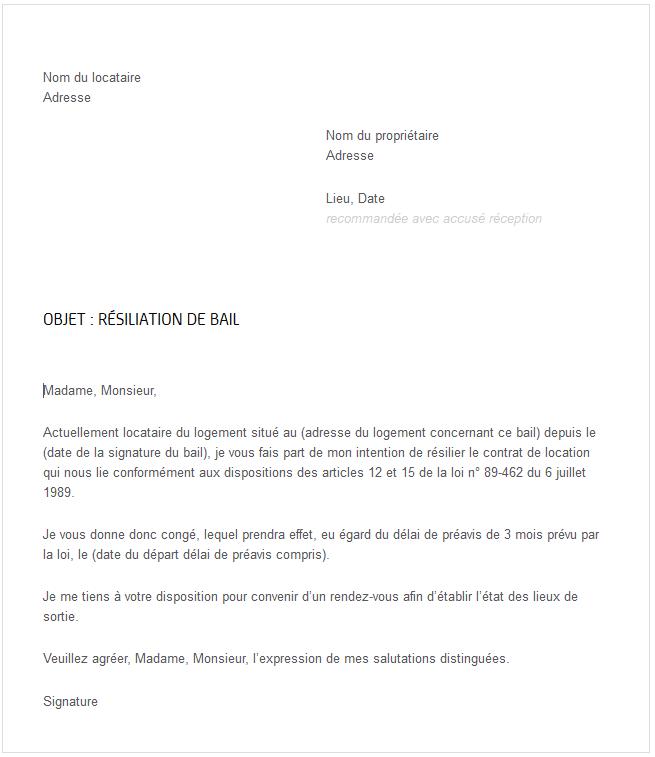 Lettre Type Gratuite Pour Resiliation De Bail Immo Lyon