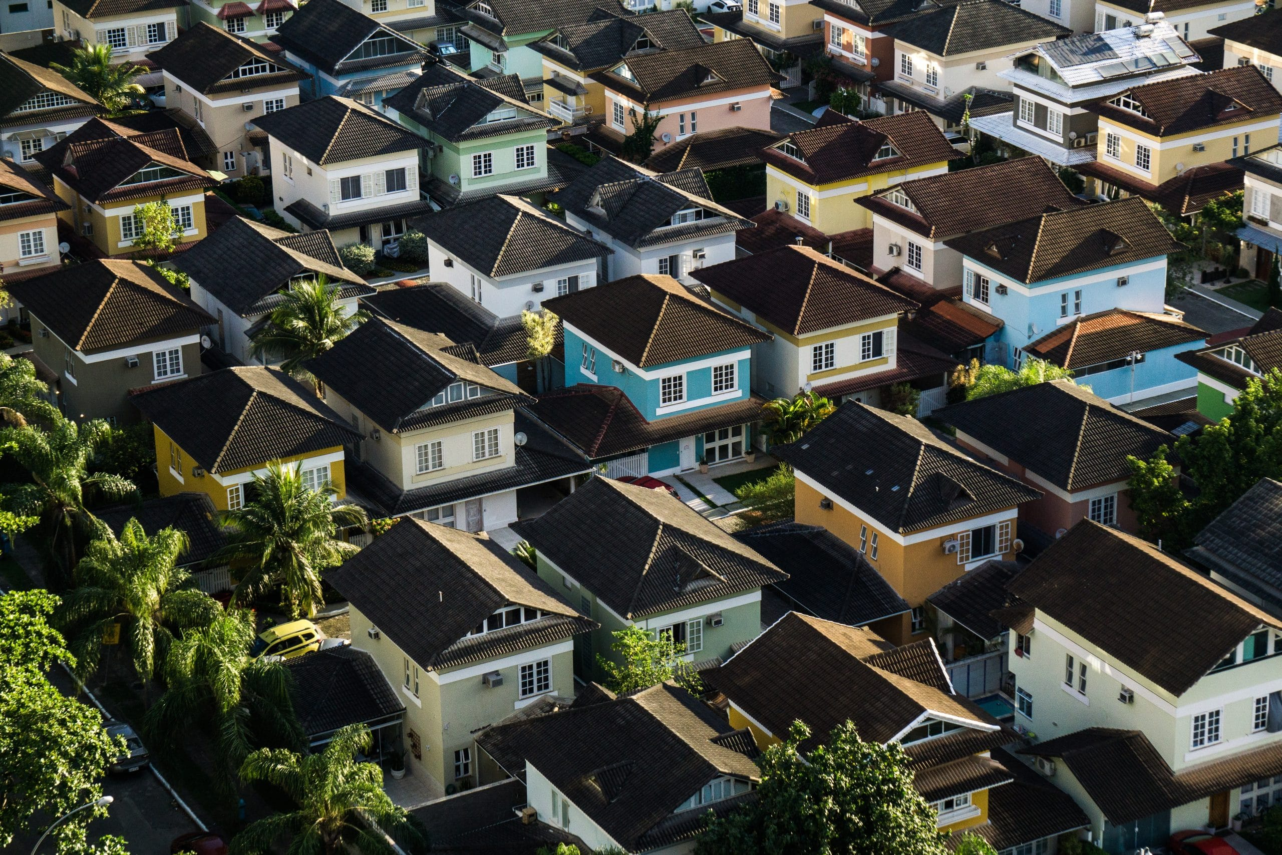 Vue aérienne d'un quartier résidentiel